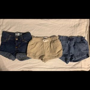 3 Pairs Girls Old Navy Shorts 18/24 months VGUC